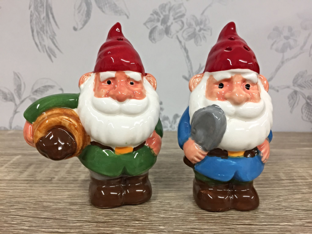 Happy Gnomes Salt & Pepper Shakers with Tools